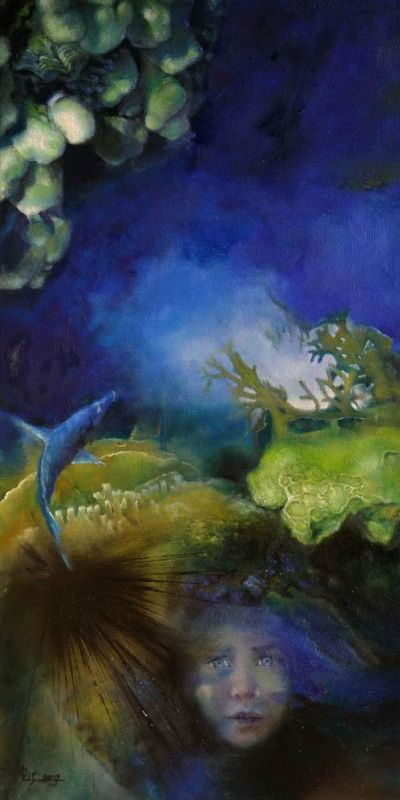 Pomiędzy światami 1 (olej, 50 x 100 cm,)/Between the worlds 1(oil, 50 x 100 cm)